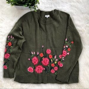 Umgee olive green sweater w/floral embroidery LG